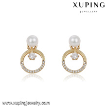 94065 latest design jewelry circle shape pearl ladies earrings