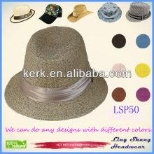 LSP50 Ningbo Lingshang Stylish Noble Plain Female 100% Paper Straw Hat