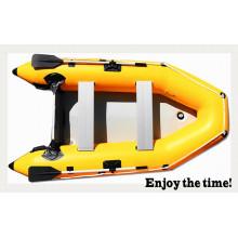 Bateau gonflable polyvalent en PVC jaune de 0,9 mm pour la pêche et les loisirs