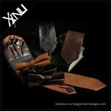 Corbata marrón negra con lazo pitillo de cuero, pajarita de cuero