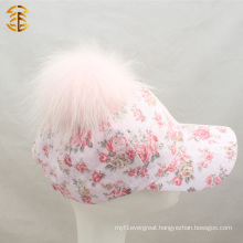 Hot Sale Pink Flower and Lace Fashion Baseball Cap For Girls