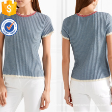 Hot Sale Short Sleeve Cotton Blue And White Scalloped Edges Summer Top Manufacture Wholesale Fashion Women Apparel (TA0077T)
