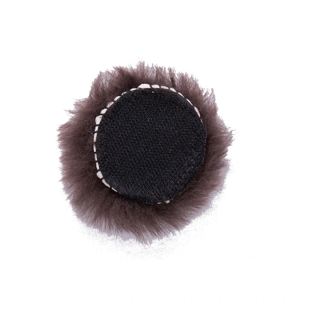 Sheepskin Round Pad 50mm Leather Dia With Hook Side Velcro