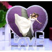 Baratos marcos de fotos de corazón de cristal para regalo de cumpleaños y boda