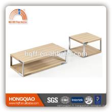 CT-22 ET-22 placage moderne table basse en acier inoxydable table de bout en bois