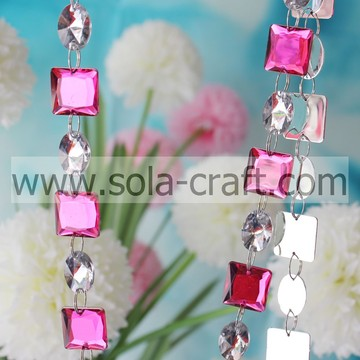 Crystal Rose Color 19mm Square Clear 13*18mm Oval Bead Garland