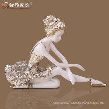 Polyresin ballerina girl statue for home interior decor