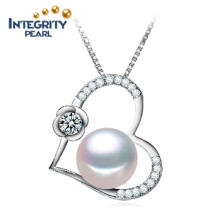 10-11mm Semi-ronde AAA Collier en perles de bijoux en forme de coeur à eau douce