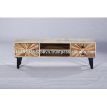 Soporte de madera industrial de las piernas del metal de la vendimia