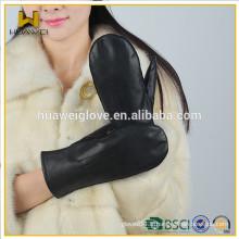 Gants noirs classiques en peau d'agneau doux Femmes hiver portant des gants en cuir Mitaines