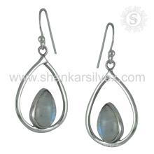 Atemberaubender Regenbogen Moonstone Ohrring 925 Sterling Silber Großhandel Schmuck Jaipur Handgefertigte Online Silber Schmuck