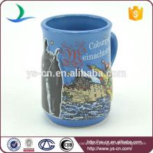 YScc0018-1 Ceramic Blue Coffee Mugs Wholesale For Christmas