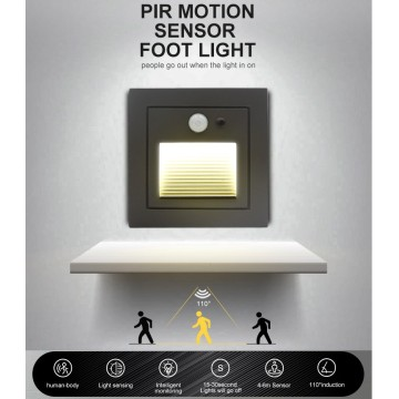 Lámpara de pared empotrada con sensor LED de 3W para escalera