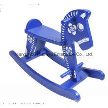 Balancín Caballo-Azul y blanco oscilante de madera del caballo de la porcelana del nuevo diseño