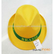 Chapeaux de polyester les moins chers en or jaune avec logo personnalisé OEM ODM welcome