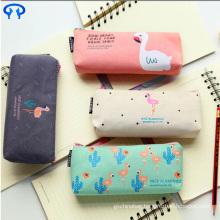 South Korea simple cute canvas printing logo stationery bag student female small fresh zipper large capacity pencil case bag