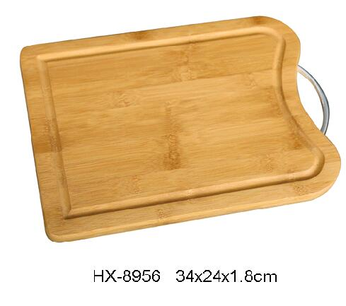 bamboo chopping block with groove and metal handle