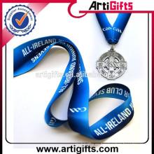 Ployester custom logo silk-printing medalla cordón