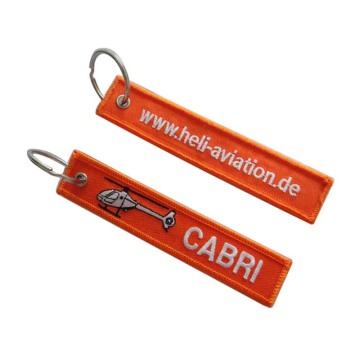 Custom Brilliant Twill Tag Keyring Embroidered