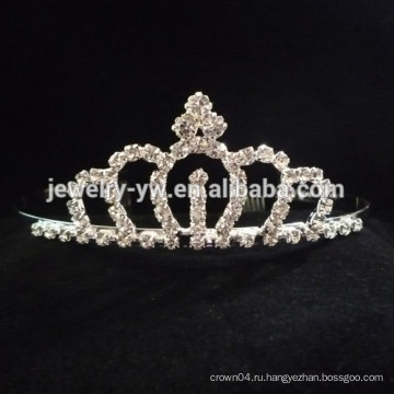 Мода металлический серебристый palted полный кристалл ромашка цветок корону оголовье