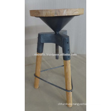 Industrial Swivel Stool with wooden Legs