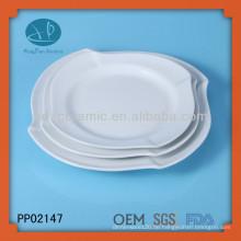 3pcs weißes Porzellan quadratische Welle Platte, Geschirr Keramik