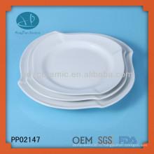 3шт белого фарфора квадратная волна пластина, посуда керамическая