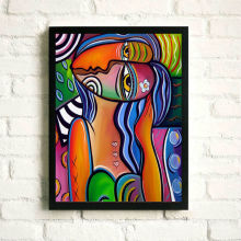 Cartel abstracto de la pintura de la foto del retrato con el marco de la foto