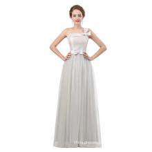 2018 new design floor length evening dress grey color one shoulder elegant evening dress for women