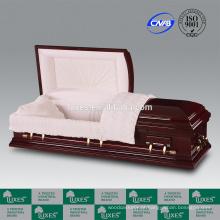LUXES estilo americano por atacado caixão de madeira Bordeaux caixões de papelão
