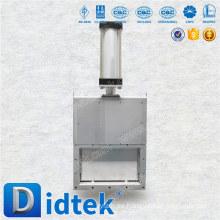 Accionador neumático Didtek Acero fundido Válvula rectangular de cuchilla