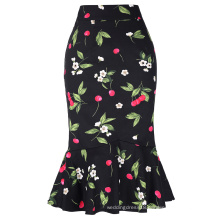 Kate Kasin Occident Women Fashion OL Causal Hips-Wrapped Mermaid Floral Print Tight Pencil Skirt KK000220-2