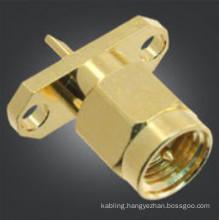 SMA RF Connector Straight Plug 2 Holes flange