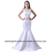Zweiteiler Prom Dress Mermaid Satin ärmelloses Abendkleid