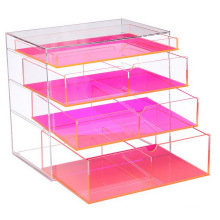 Wholesale Colored 4 Tier Jewelry Storage Box with Drawers Acrylic Makeup Organizer