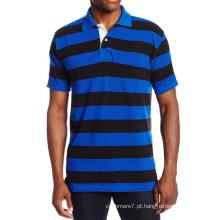 Fio de Algodão Masculino Tingido Pique Stripe Camisas Polo