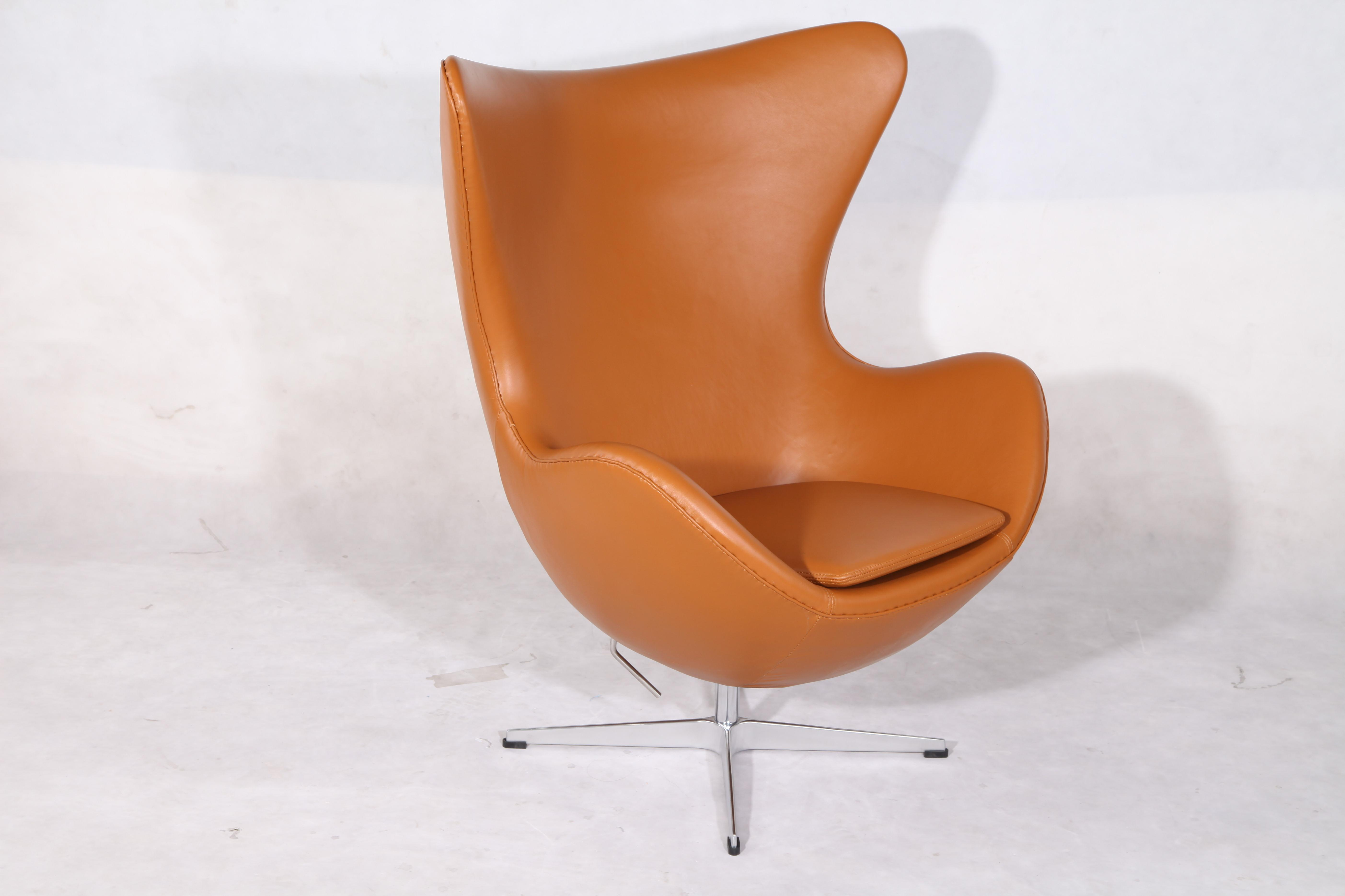 egg chair cognac leather reproduction