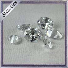 Zircônia cúbica cortada do diamante brilhante branco oval claro para a jóia