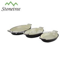 Hochwertige ovale Emaillebeschichtung Gusseisengratinpfanne / Suppentopf / Schale