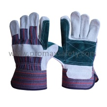 Blue Reinforced Palm Cow Split Leather Work Glove with Rubberized Cuff