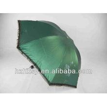 3 Falten runde Griff Sommer Regenschirm Spitze Sonnenschirm