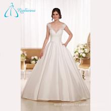 Lace Appliques Satin Sashes Button Luxury Wedding Dress