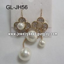 Aretes de perla de la cáscara de boda