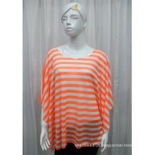 Lady Moda Stripe Impresso Poliéster Malha Primavera Hollow Shirt (YKY2201)