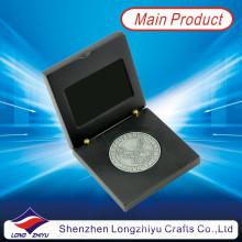 Moeda de prata antiga moeda de águia com caixa de madeira preta (lzy1300012)