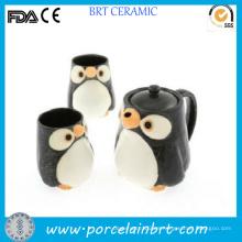 Juego de té de cerámica caliente lindo pingüino con infusor