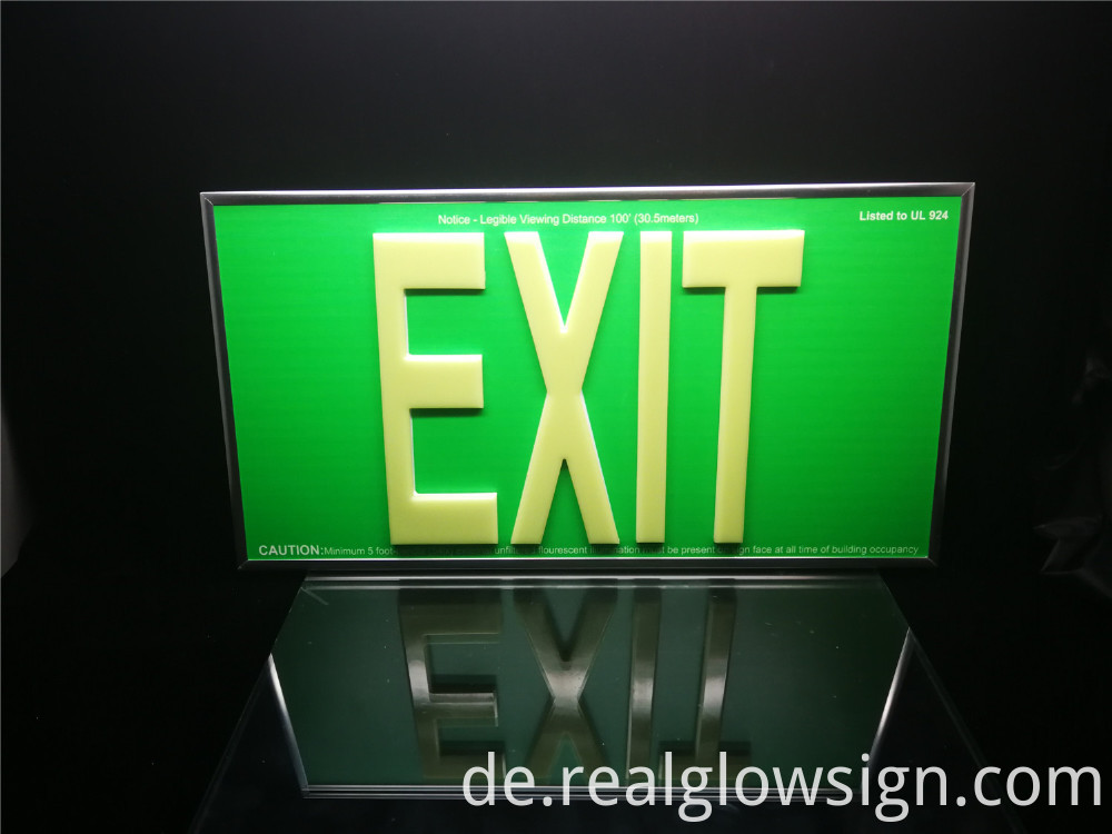 glow in the dark EXIT sign 100Ft face