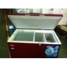 congelador de cofre de la puerta superior frigorífico con CE, CB, WithInner vidrio / ruedas / cesta / mango / cerradura y llave