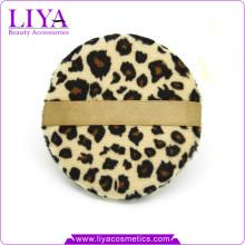 Mode Schönheit Werkzeuge Leopard Puderquaste für trockenes Pulver Logo akzeptiert