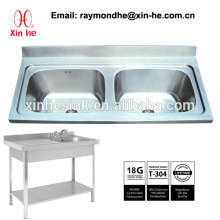 Commercial Kitchen Catering Sink Scullery Basin with Splashback, Portable Stainless Steel Two 2 Compartment Sink with underframe